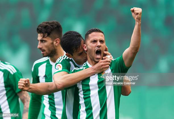 Riza Durmisi of Real Betis Balompie celebrates after scoring the first goal for Real Betis Balompie La Liga match between Real Betis Balompie and...