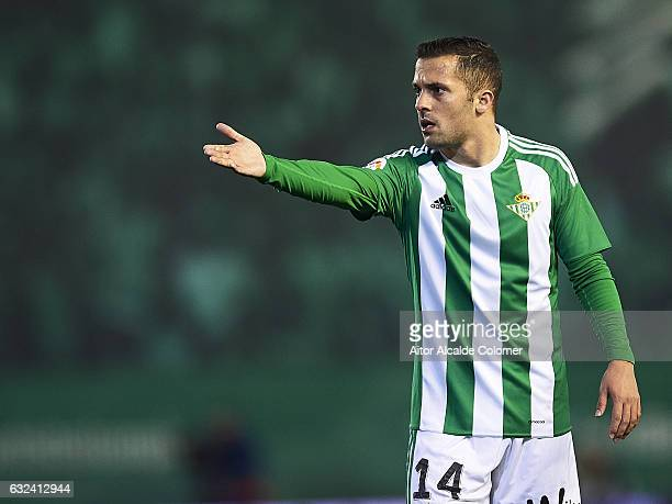 SPAIN JANUARY 22 Riza Durmisi of Real Betis Balompie in action during La Liga match between Real Betis Balompie and Real Sporting de Gijon at Benito...