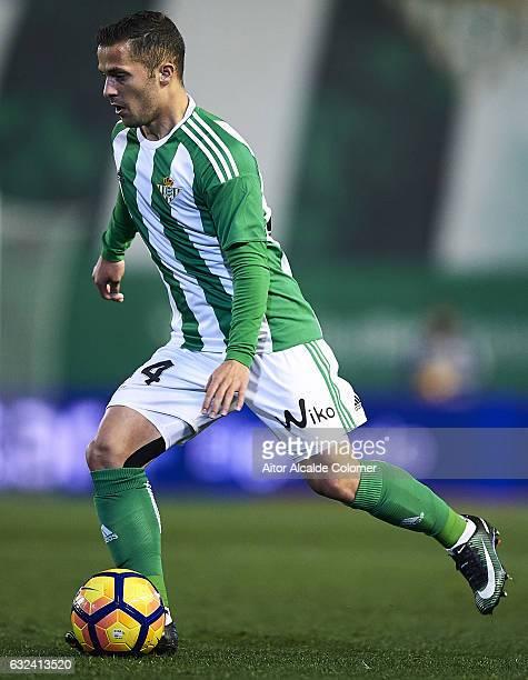 Riza Durmisi of Real Betis Balompie in action during La Liga match between Real Betis Balompie and Real Sporting de Gijon at Benito Villamarin...