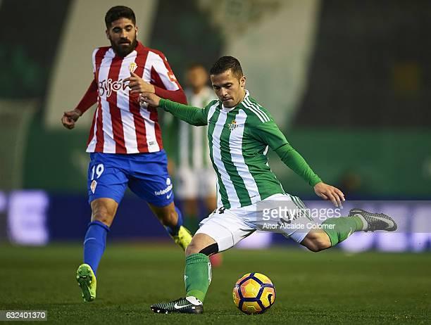 Riza Durmisi of Real Betis Balompie in action during the La Liga match between Real Betis Balompie and Real Sporting de Gijon at Benito Villamarin...