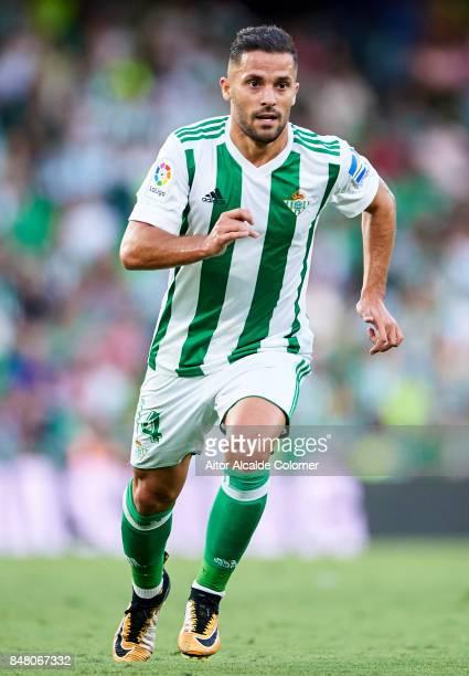 Riza Durmisi of Real Betis Balompie in action during the La Liga match between Real Betis and Deportivo La Coruna at Estadio Benito Villamarin on...