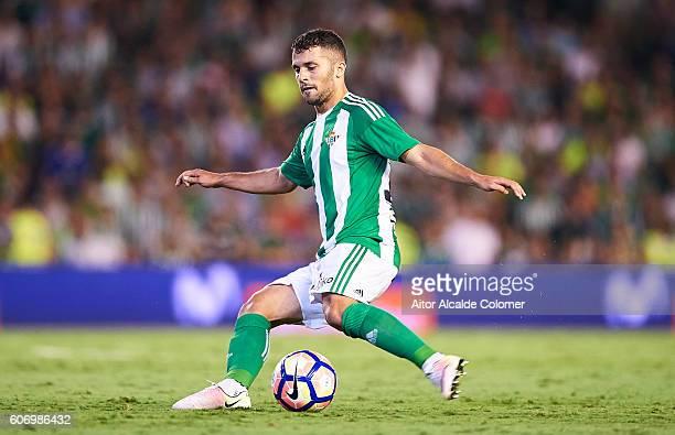 Riza Durmisi of Real Betis Balompie in action during the match between Real Betis Balompie vs Granada CF as part of La Liga at Benito Villamarin...