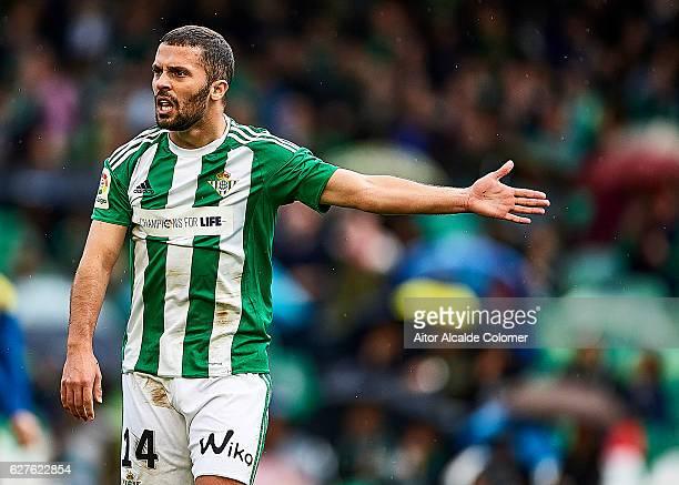 Riza Durmisi of Real Betis Balompie reacts during La Liga match between Real Betis Balompie an RC Celta de Vigo at Benito Villamarin Stadium on...