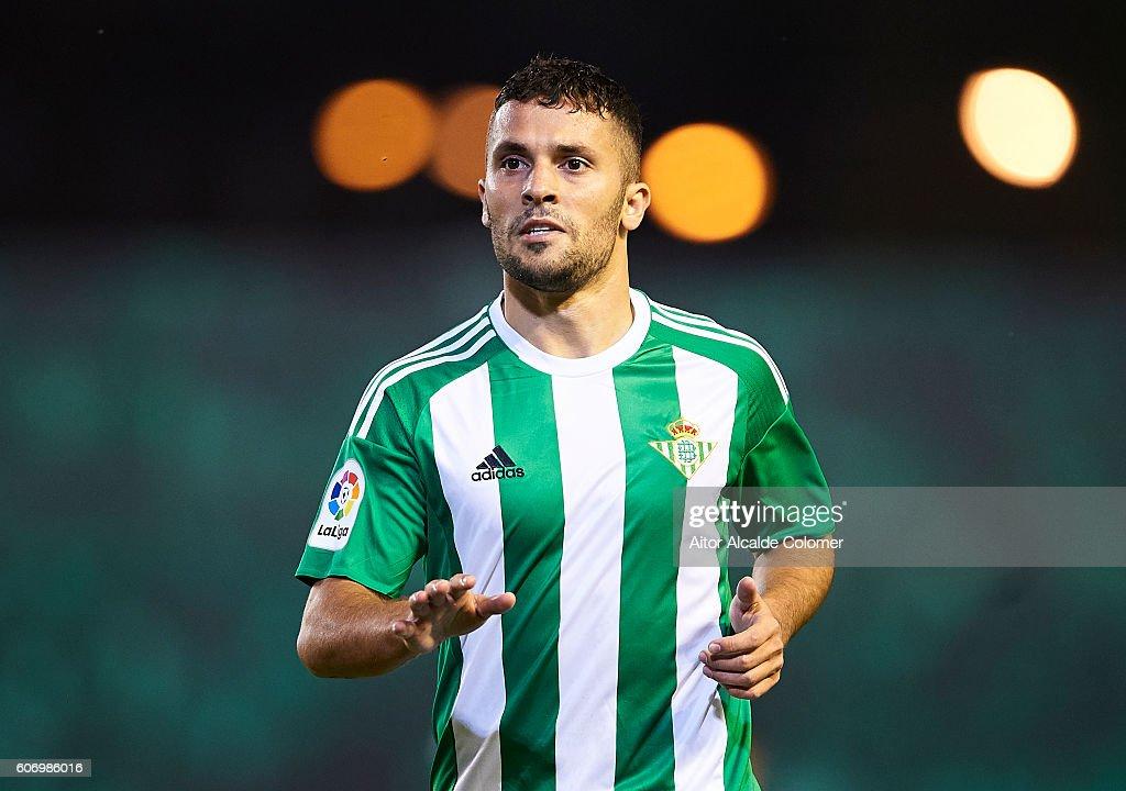 Riza Durmisi of Real Betis Balompie reacts during the match between Real Betis Balompie vs Granada CF as part of La Liga at Benito Villamarin stadium on September 16, 2016 in Seville, Spain.