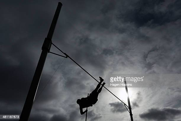 Rizvan Caukwell of Auckland competes in the youth men's pole vault during the New Zealand track and field championships at Newtown Park on March 29...