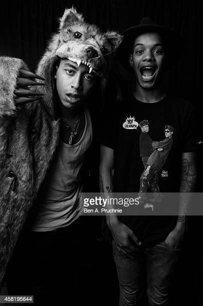 Rizzle Kicks pose backstage at the KISS FM Haunted House Party at Eventim Apollo Hammersmith on October 31 2014 in London England