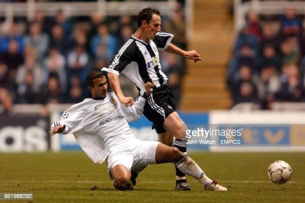 rl Newcastle United's Andrew O'Brien is tackled by Dynamo Kiev's Badr El Kaddouri
