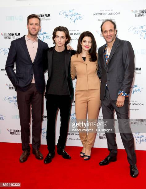 rmie Hammer Timothee Chalamet Esther Garreland director Luca Guadagnino attend the premiere of Call Me By My Name as part of the BFI London Film...