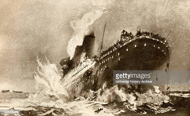 Rms Titanic Of The White Star Line Sinking Around 2 20 Am Monday Morning April 15 1912 After Hitting An Iceberg In The North Atlantic