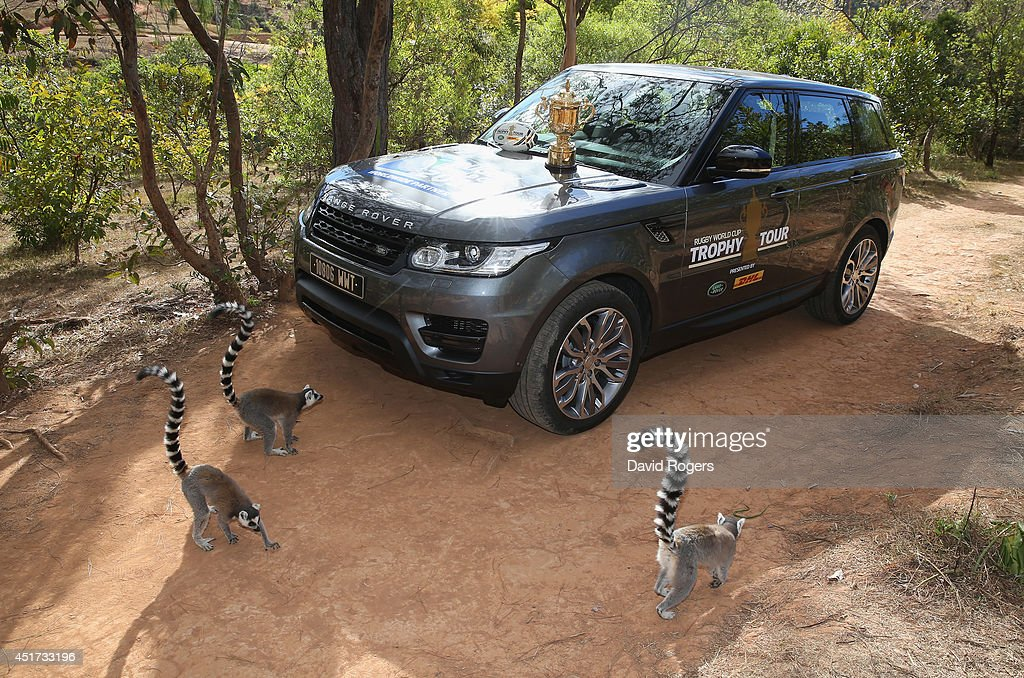 Rng-tailed lemurs, which is indigenous to Madagascar, surround a Range Rover Sport during a visit to the Lemur Park during the Rugby World Cup Trophy Tour in Madagascar in partnership with Land Rover and DHL ahead of Rugby World Cup 2015 on July 5, 2014 in Antananarivo, Madagascar.