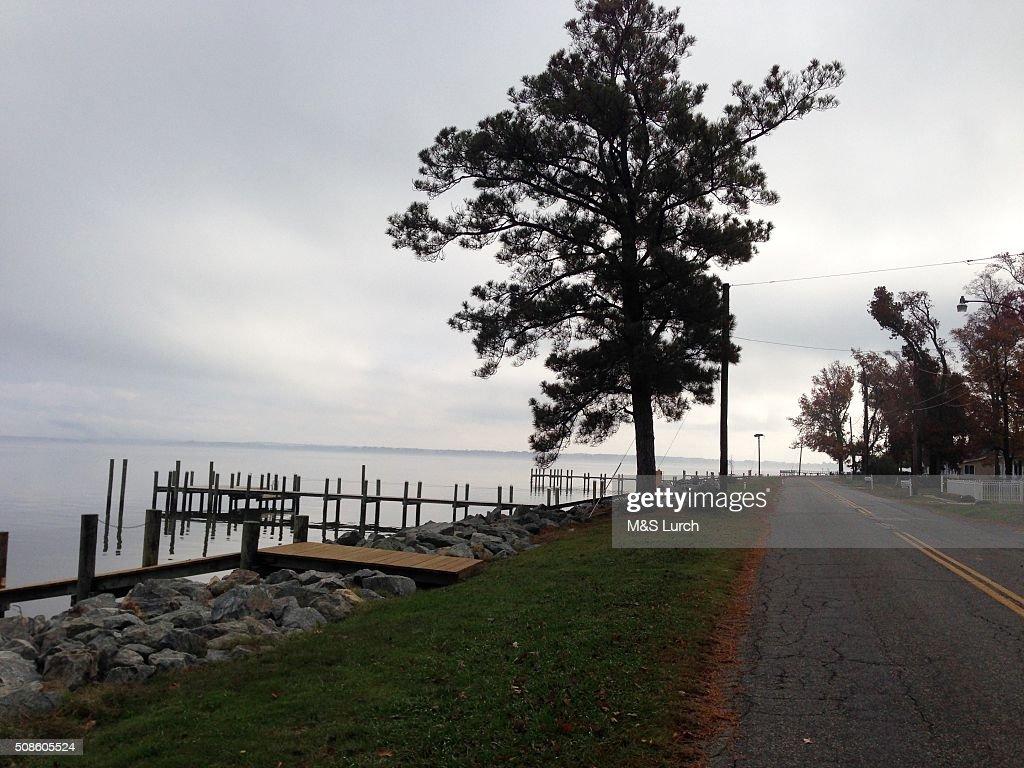 Road along the Potomac River : Stock Photo