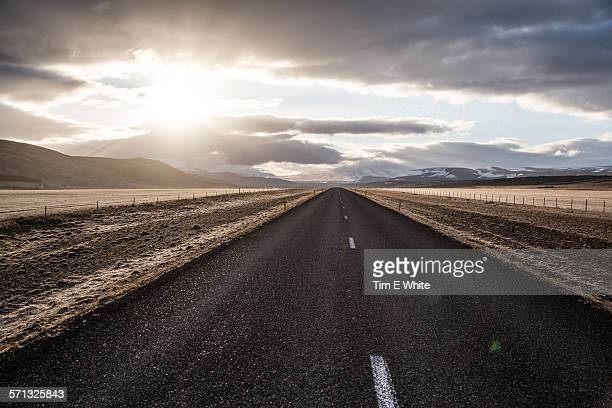 Road at sunset, Husafell, Iceland