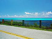 Road at the seaside, Rocky Point, Providencia, Providencia y Santa Catalina, Departamento de Archipielago de San Andres, Colombia