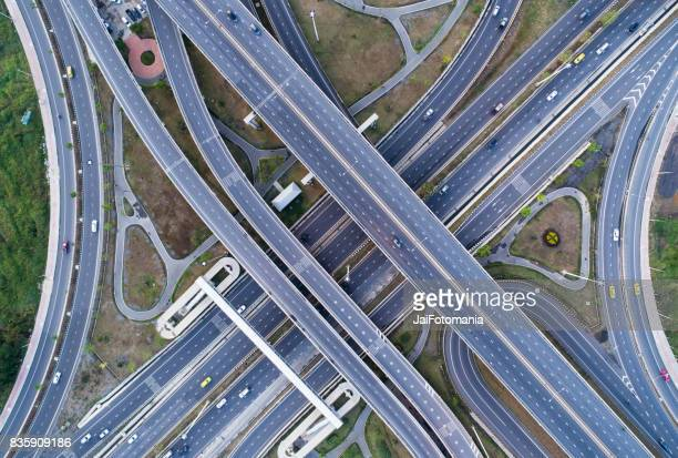 Road beautiful Aerial View of busy intersection top view Thailand