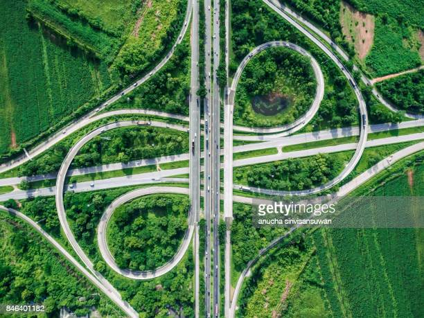 Road beautiful Aerial View of Busy Intersection , top view , thailand .