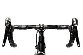 road bike handlebar carbon on white background
