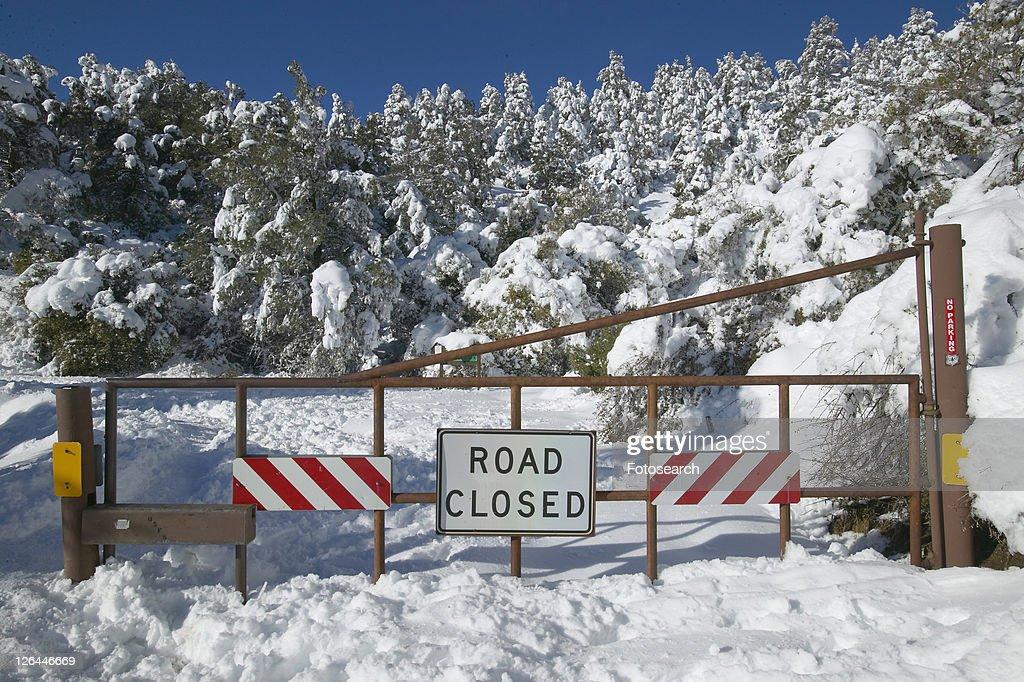 ôRoad Closedö sign after fresh snowfall : Stock Photo