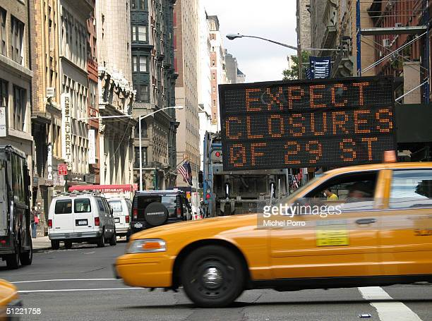 A road closure sign stands on the corner of Park Avenue and 29th Street in preparation for the upcoming Republican National Convention August 26 2004...