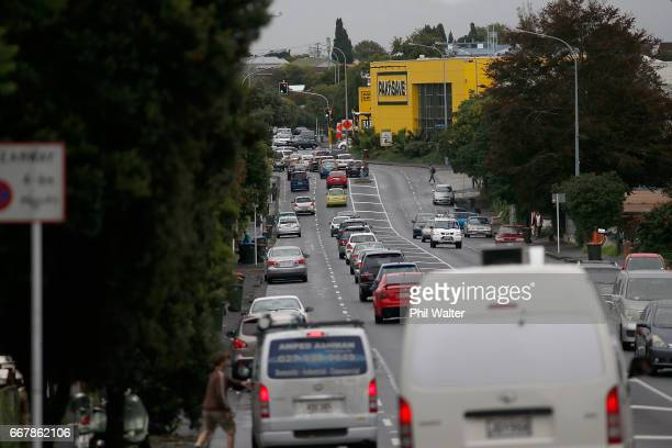 Road congestion around PaknSave in Mt Albert before Cyclone Cook is due to reach landfall on April 14 2017 in Auckland New Zealand Reports suggest...