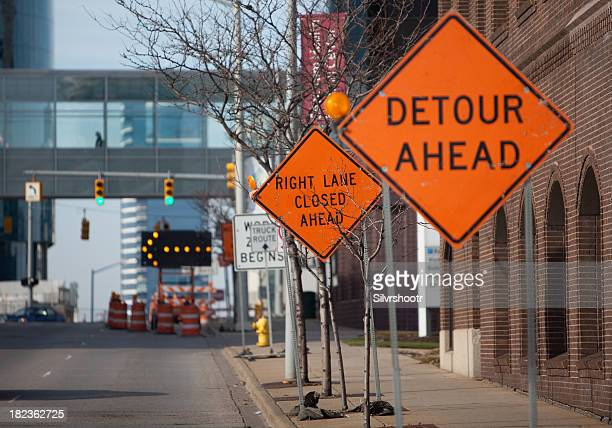 Road construction Signs in  a downtown area