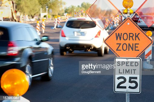 Road Construction Work Zone at Rush Hour