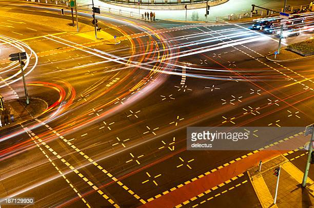 Road crossing at night from above