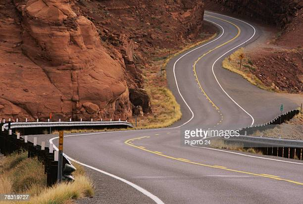 Road curving through Utah landscape