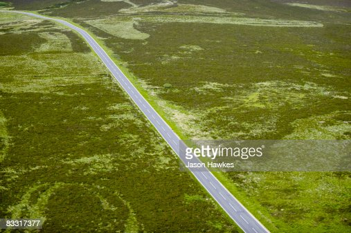 Road cutting through the Peak District, UK. : Stock Photo