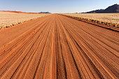 Road D707, dust road along the Namib desert, Namibia