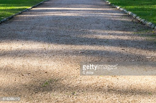 Road in lower view with shadows on it : Stock Photo