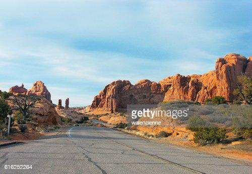 Road in mounitains near Moab in Utah, USA : Foto de stock
