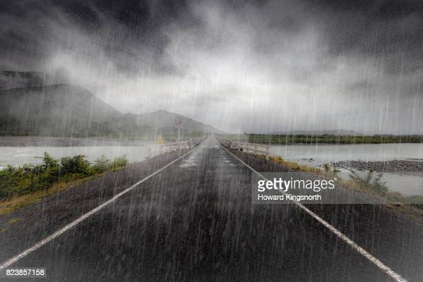 POV of road in rain and fog