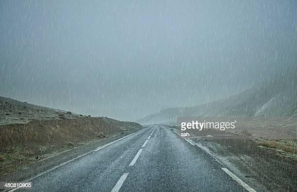 Road in rain, Atlas Mountains, Morocco