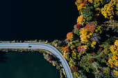 Road in the autumn forest aerial view with lake