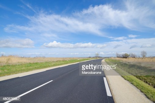 Road in the Camargue, France. : Stockfoto