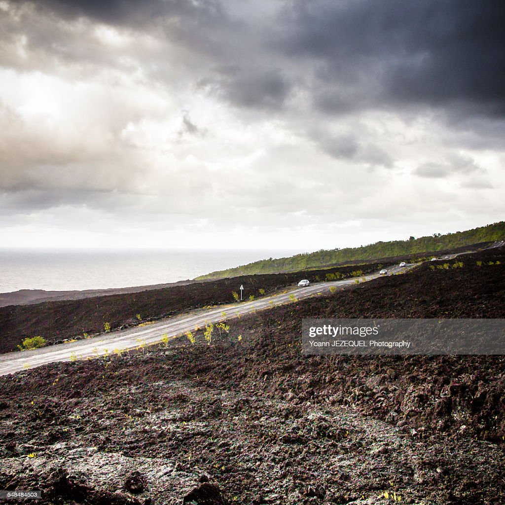 Road in the middle of lava