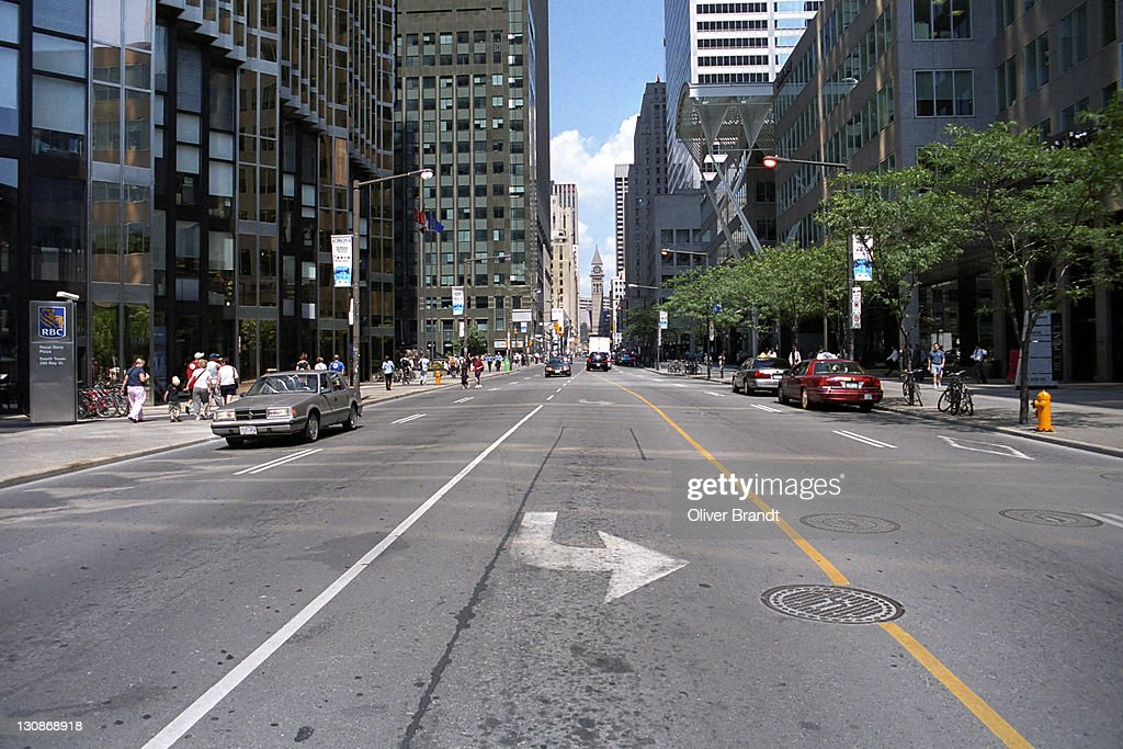 Ontario Canada Downtown Road In Toronto...