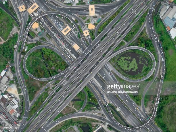 road interchange Highway traffic beautiful , Bird Eye View in bangkok , top view , Bangkok , Thailand .