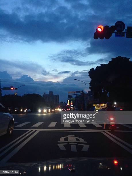 Road Intersection At Dusk