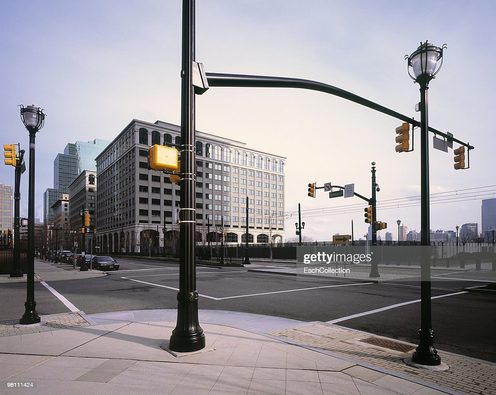 Road Junction with many traffic lights in New York : Stock Photo