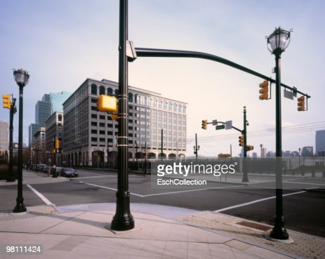 Road Junction with many traffic lights in New York : Foto stock