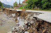 Road leftovers after natural distruction river flooding