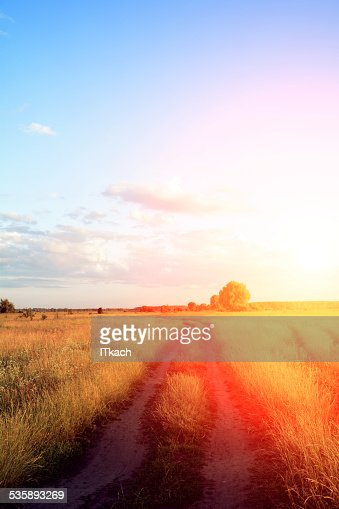 Road lane and deep sky : Stock Photo