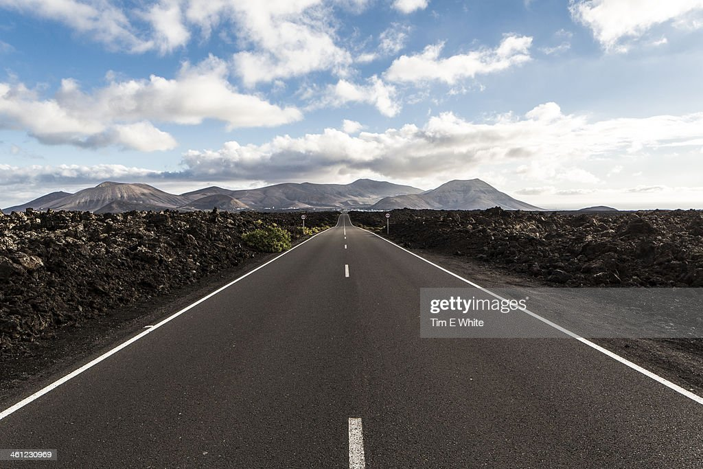 Road, Lanzarote, Canary Islands, Spain : Stock Photo