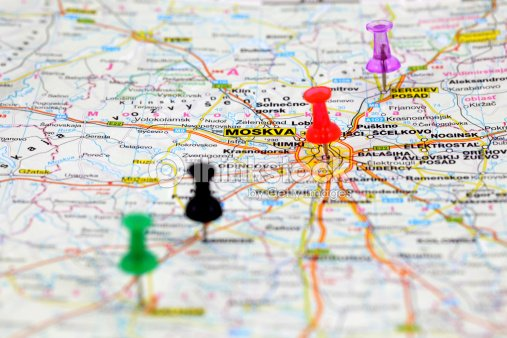 Road Map With Push Pins Of Moscow Russia Stock Photo - Thinkstock