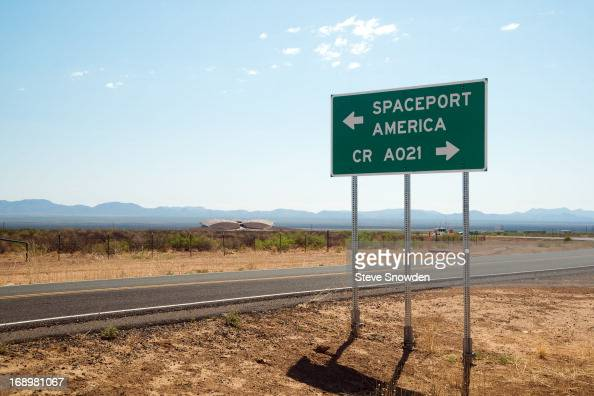A road marker shows the way to Spaceport America site of Colombia Pictures' 'After Earth' Press Junket at Spaceport America on MAY 17 2013 The...