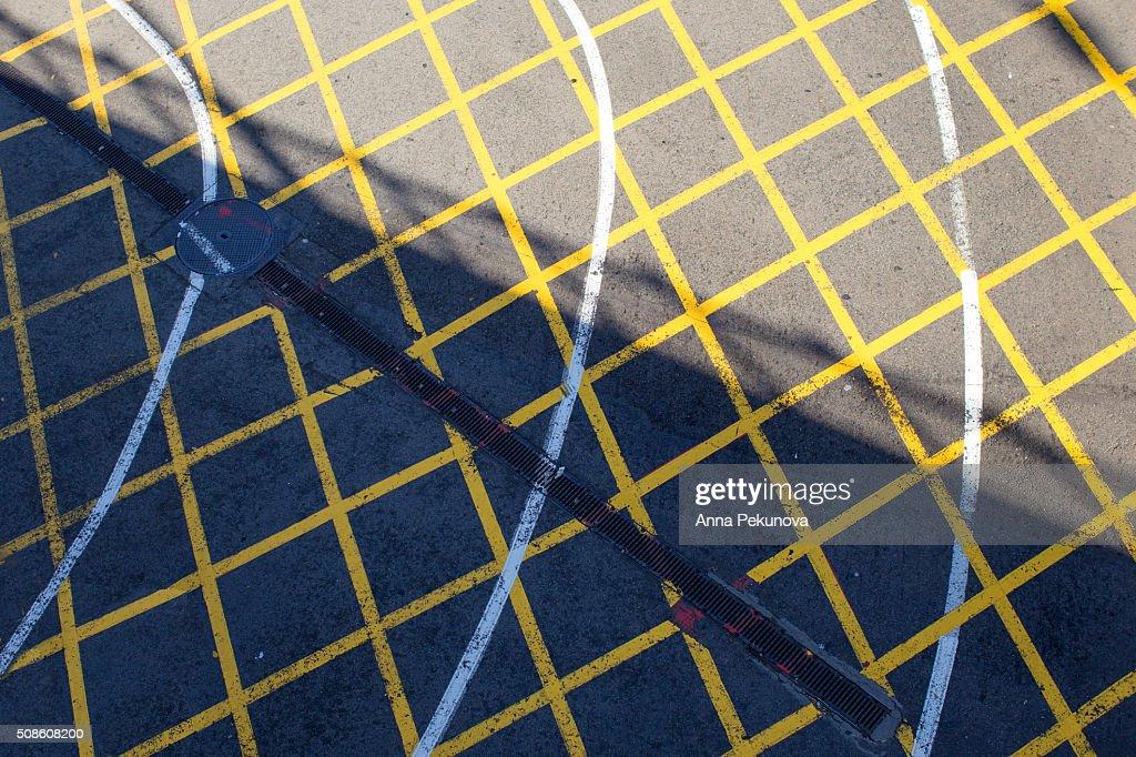 Road marking near Atocha train stationq Madrid, Spain : Stock Photo
