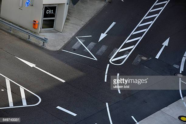 road markings at the airport of CologneBonn