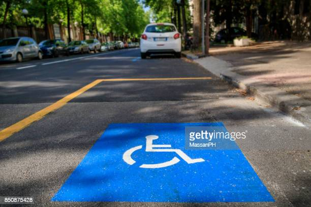 Road markings for disabled parking