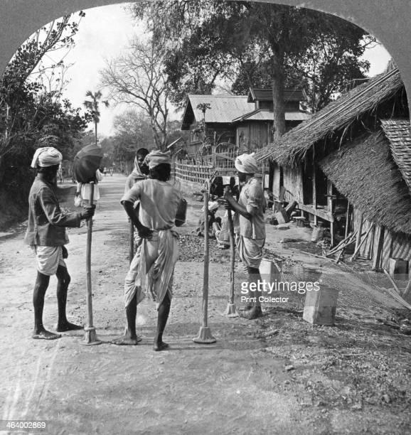 Road mending Bhamo Burma 1908 Stereoscopic card Detail